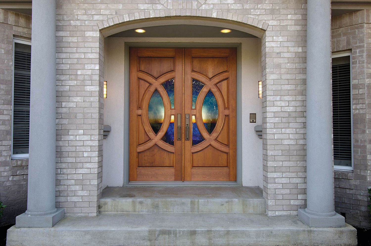 Simpson Door Lombard with custom glass in cherry 4914 l 4915 r 1 1