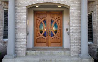 Simpson Door Lombard with custom glass in cherry 4914 l 4915 r 1 320x202