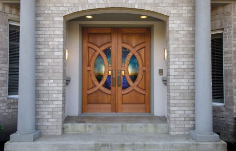 Simpson Door Lombard with custom glass in cherry 4914 l 4915 r 1 460x295