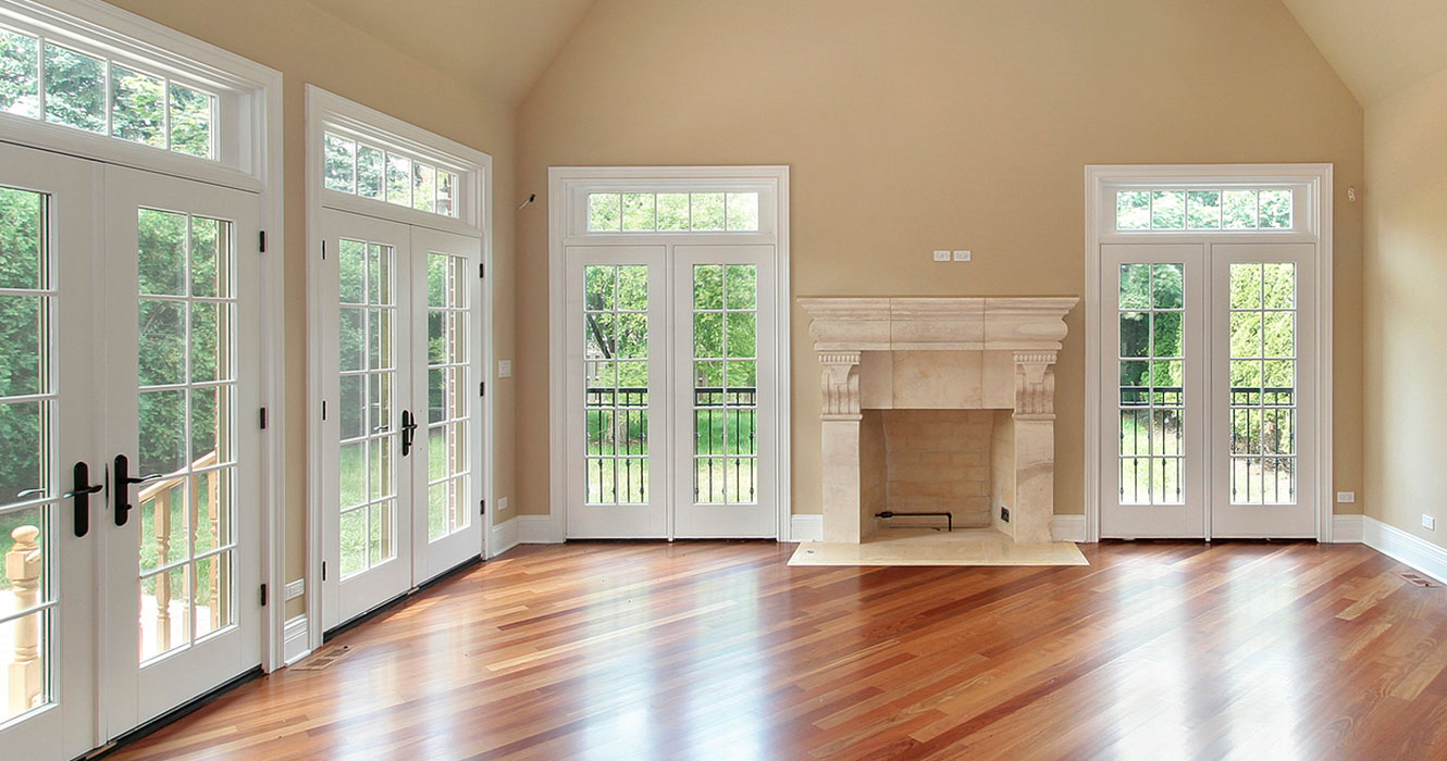 living room with four sets of french doors